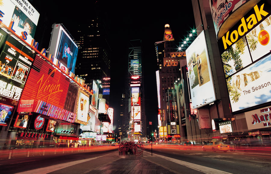 View Of Times Square At Night Wall Mural