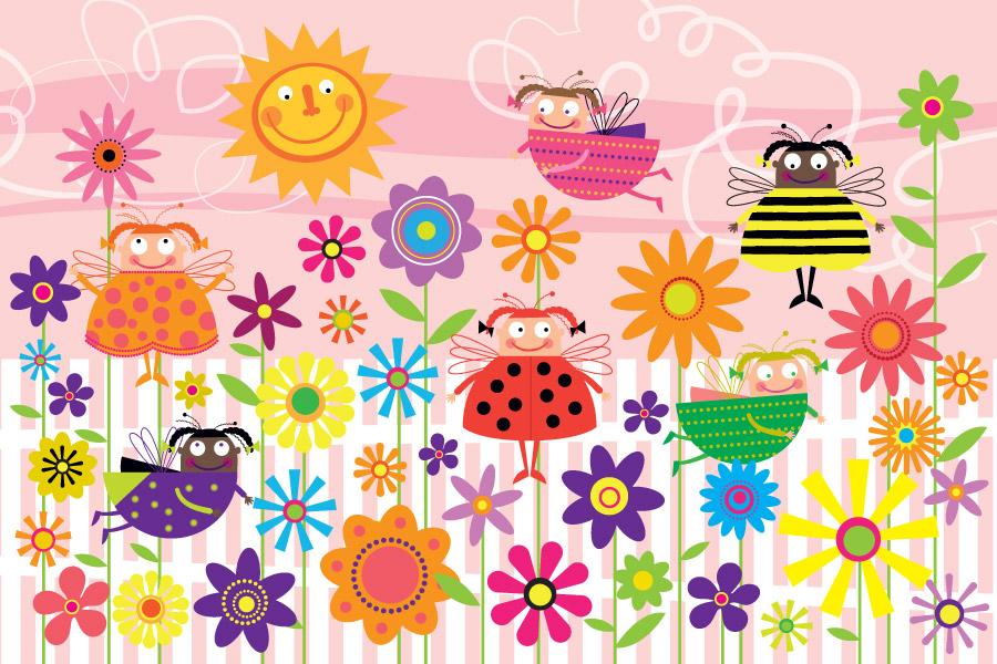 Ladybug Garden Wall Mural