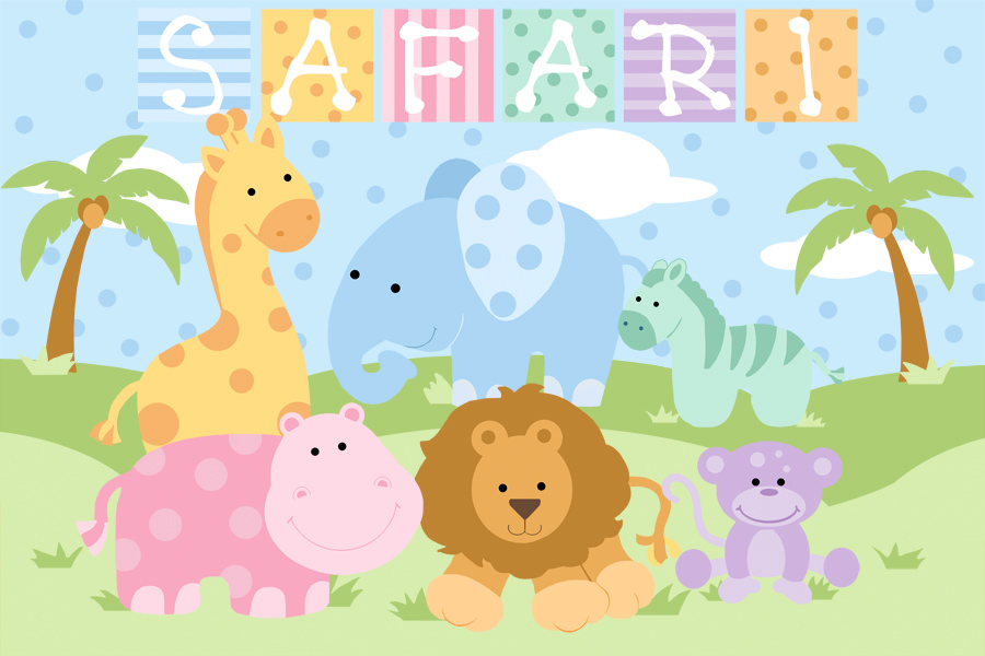 Baby Safari - Girl Wall Mural